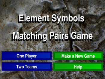 Chemical Element Symbols Matching Pairs Interactive Game
