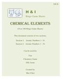 Chemical Elements Bingo Game (H&I Bingo Game Sheets) - 3 X 3