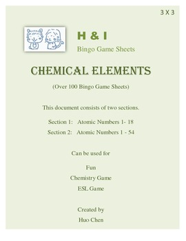 Chemical Elements Bingo Game (H&I Bingo Game Sheets) - 3 X 3