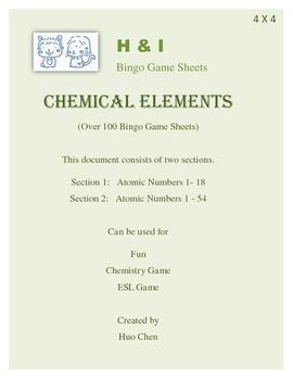 Chemical Elements Bingo Game (H&I Bingo Game Sheets) - 4 X 4
