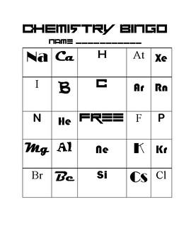 Chemical Elements Bingo Sheet