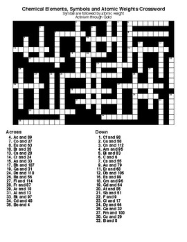 Chemical Elements Crosswords & Word Searches with KEYS