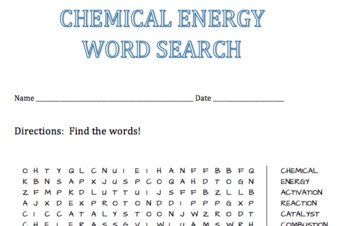Chemical Energy Word Search