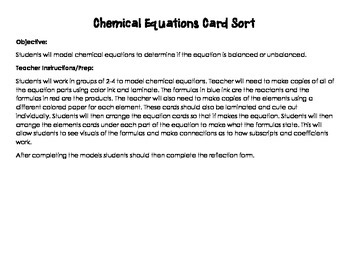 Chemical Equation Card Sort