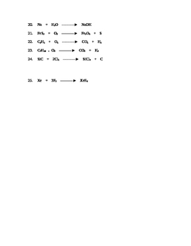 Chemical Equations:  Balanced or Not 2