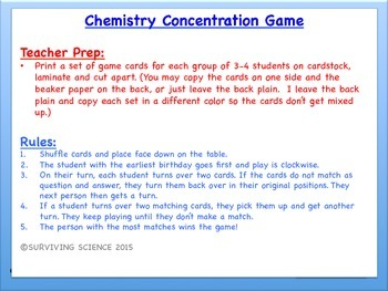 Chemical Equations Chemistry Concentration Game Review