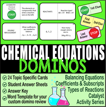 Chemical Equations ~DOMINO REVIEW~ 24 Cards + Answer Sheets + Key