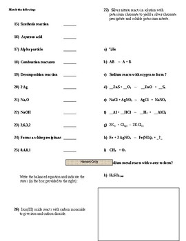 Chemical Equations - Mastery Test