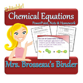 Chemical Equations Package - PowerPoint, Notes, Homework & Quiz