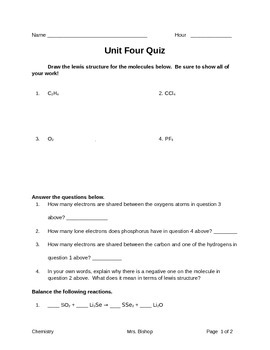 Chemical Equations Quiz