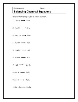 Chemical Equations Warm-up Plus Exit Ticket