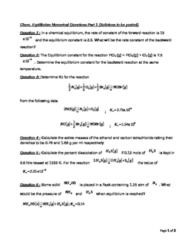 Chemical Equilibirum Numerical Questions Part 1 Solutions to follow