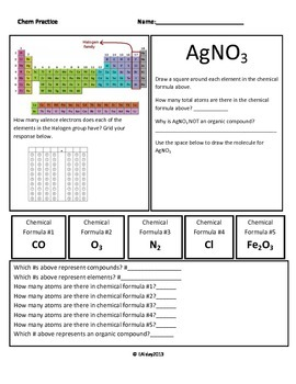 Chemical Formula Practice/Review of Organic Compounds