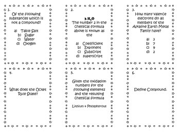 Chemical Formula/Oxidation Number Task Cards