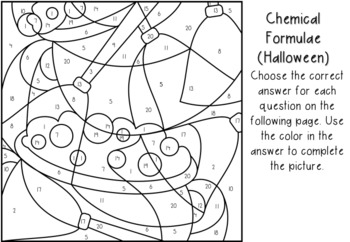 Halloween Chemical Formulae Color-by-Number