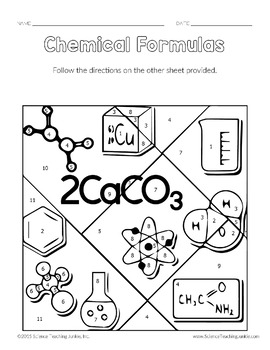 Chemical Formulas Color-by-Number TEKS 8.5D