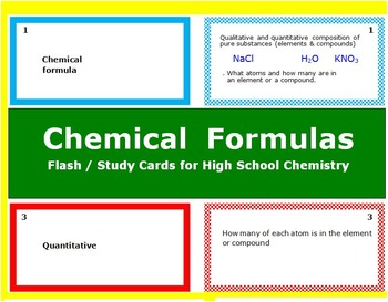 Chemical Formulas: Printable Flash (Study) Cards to study for quizzes & tests