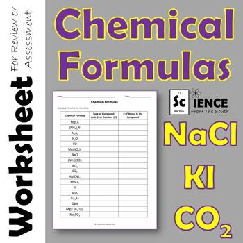 Chemical Formulas Worksheet for Review or Assessment