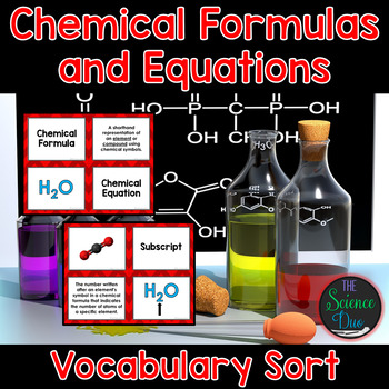 Chemical Formulas and Equations Vocabulary Sort