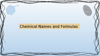 Chemical Names and Formulas Warm-up