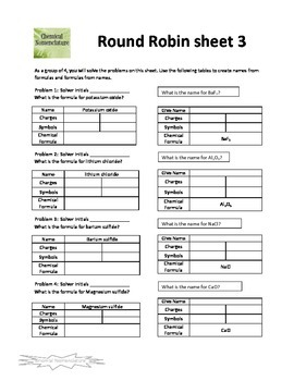 Chemical Nomenclature (Binomial Ionic and HF) Round Robin Activity