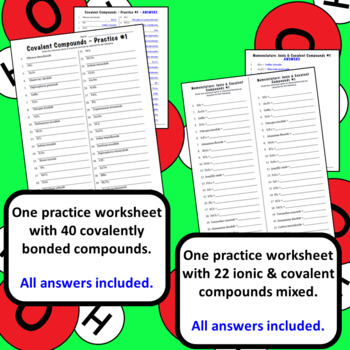 Chemical Nomenclature: Covalent Bonding Naming Compounds Practice Sets & Quizzes