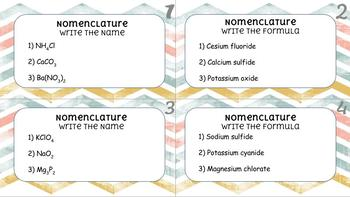 Chemical Nomenclature Task Cards