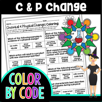 chemical physical changes science color by number quiz tpt
