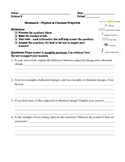 Chemical & Physical Changes & Reactions Reading Questions