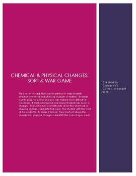 Chemical & Physical Changes Sort & War Cards