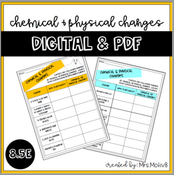 Chemical & Physical Changes **DIGITAL & PDF** (Halloween & non-holiday included)