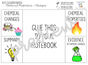 Chemical Properties and Changes Foldable + Guided Notes