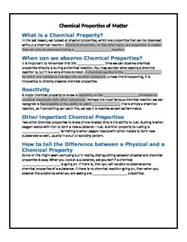 Chemical Properties of Matter (Complete Lesson)