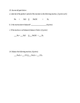 Chemical Reaction Conservation Laws Test