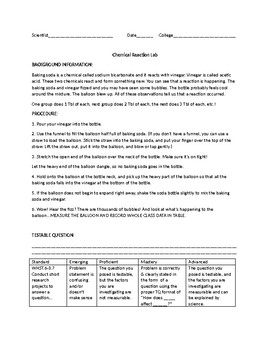 Chemical Reaction Lab Sheet