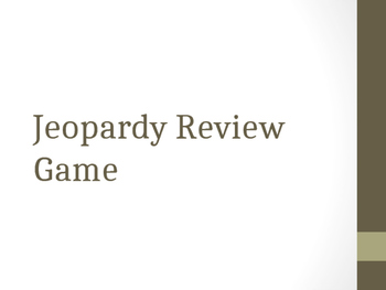 Chemical Reaction Rates and Equilibrium Jeopardy Review Game
