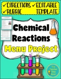 Chemical Reactions Restaurant Menu | Distance Learning