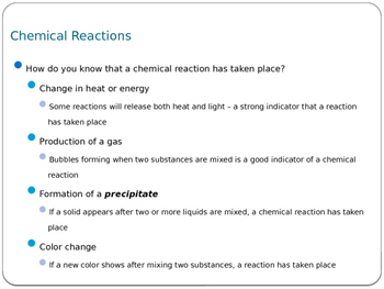 Chemical Reactions & Balancing Equations PPT