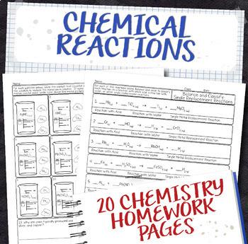 Chemical Reactions Chemistry Homework Page Unit Bundle