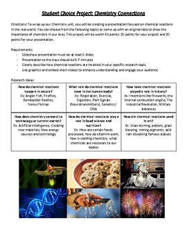 Chemical Reactions Choice Project