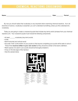 Chemical Reactions Crossword Puzzle {Editable}
