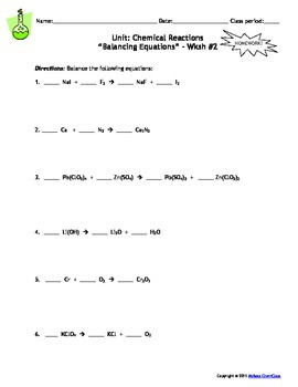chemical reactions homework worksheets set of 8 with answer keys. Black Bedroom Furniture Sets. Home Design Ideas