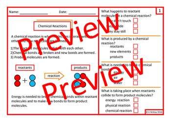 Chemical Reactions Science Worksheets, Task Cards & Mini Book, Autism