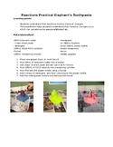 Chemical Reactions Practical method- Elephant's Toothpaste