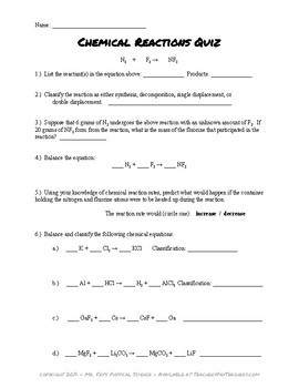 Chemical Reactions Quiz (2 versions) -  Classifying, Balancing, and more!