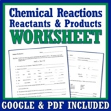 Chemical Reactions Worksheet Review Reactants and Products