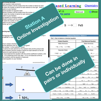 Chemical Reactions Science Stations (online, group collaboration, teacher-led)