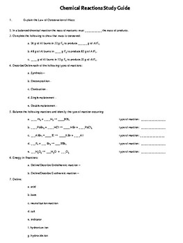 Chemical Reactions *Study Guide*