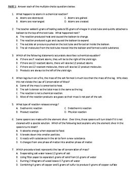 Chemical Reactions Study Guide