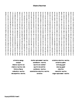 Chemical Reactions Vocabulary Word Search for General Chemistry